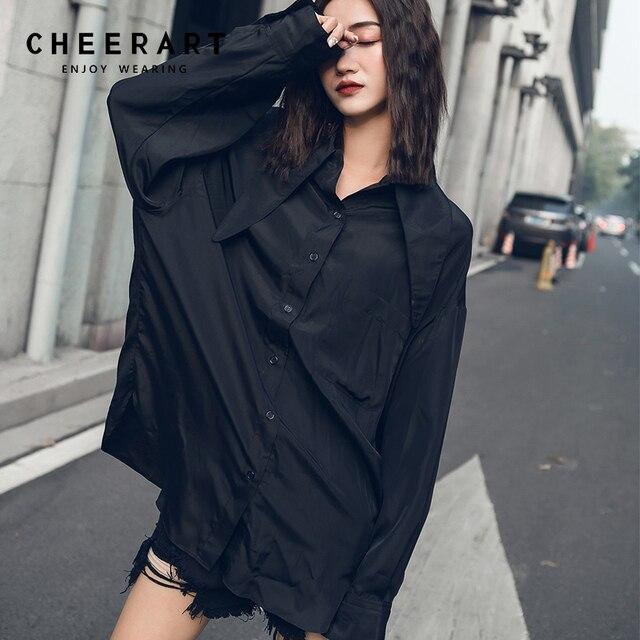 ddb6f464e50a6c Cheerart Black Satin Shirt Women Loose Long Sleeve Tops And Blouse Big Collar  Button Up Casual