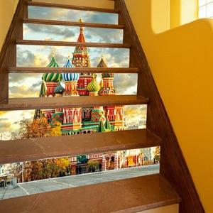 "Image 4 - Europea Castillo pared de la Iglesia estampilla para escalera alicatados de calcomanías de cáscara y palillo extraíble escalera decoración Mural 7,1x39,4"""
