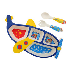 Child Bamboo Fiber Plate Aircraft Shape Divided Plate Eating Fork Spoon Set Baby Feeding Tableware