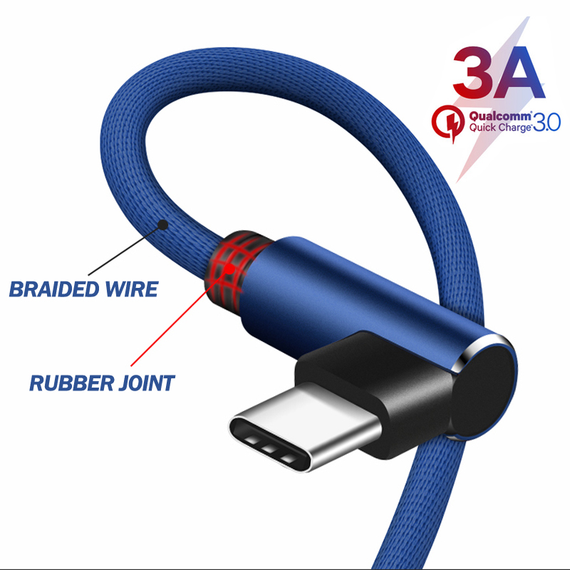 90 Degree Elbow USB Type C Cable for Samsung S9 S8 Fast Charge for Huawei P30 Pro Xiaomi