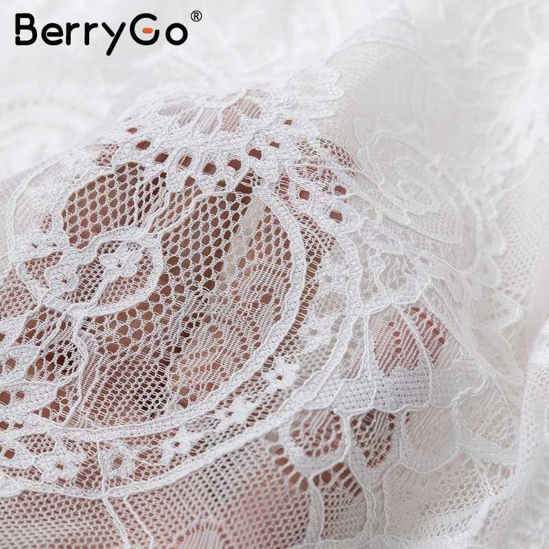 BerryGo кружевные трусики летнее платье женское сексуальное с v-образным вырезом открытое короткое платье женское белое праздничное пляжное вечернее платье