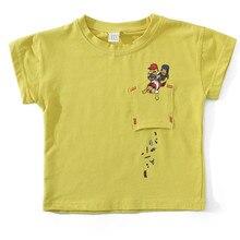 2019 Boys Short Sleeve T-Shirt Baby Girls Casual Cartoon Children White & Yellow Summer Fashion 90-130cm