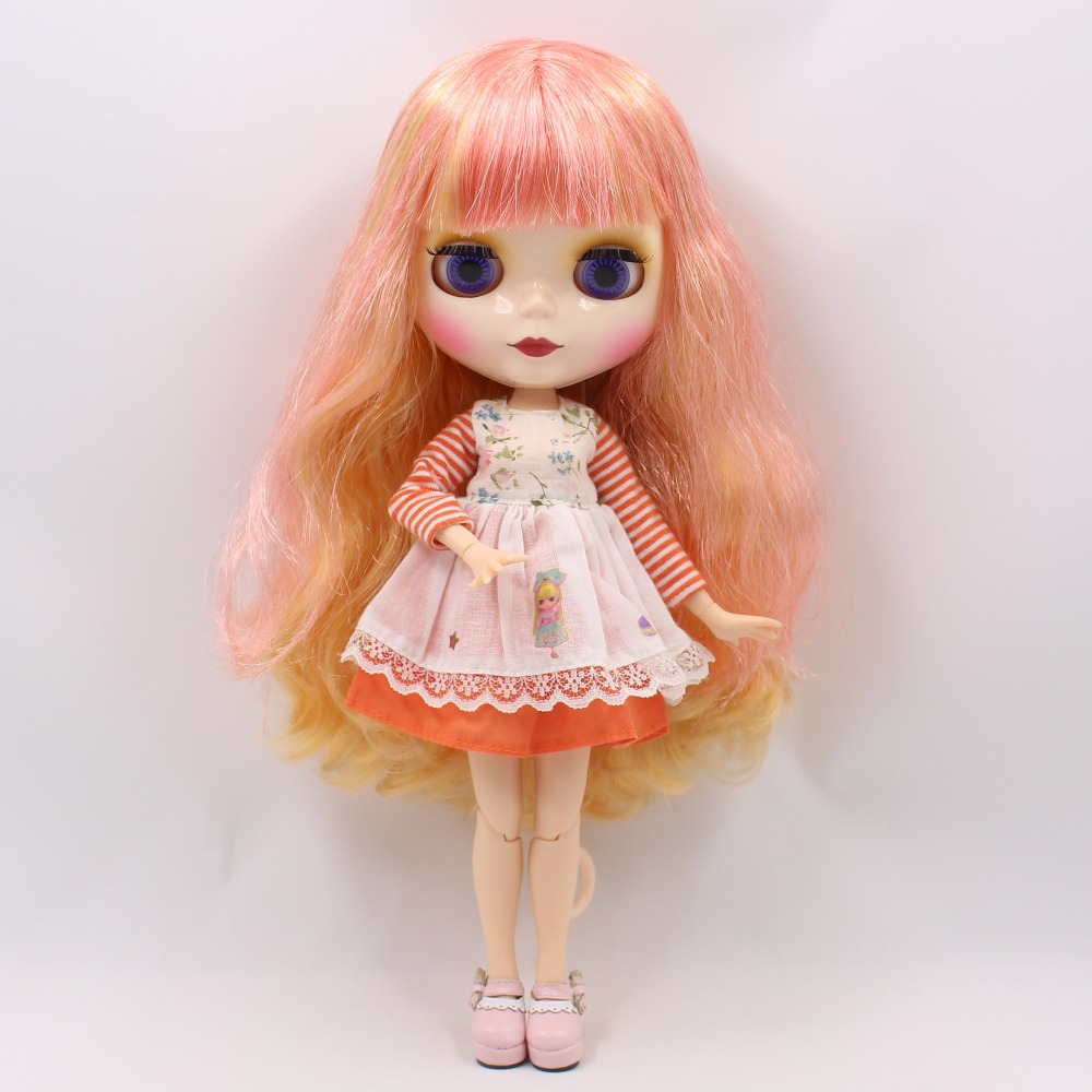 free shipping factory blyth doll blonde mix pink hair with bangs/fringes white skin joint body 230BL2050/176 bjd neo 1/6 30cm free shipping factory blyth doll icy orange hair with bangs fringes joint body 230bl0145 bjd neo 1 6 30cm