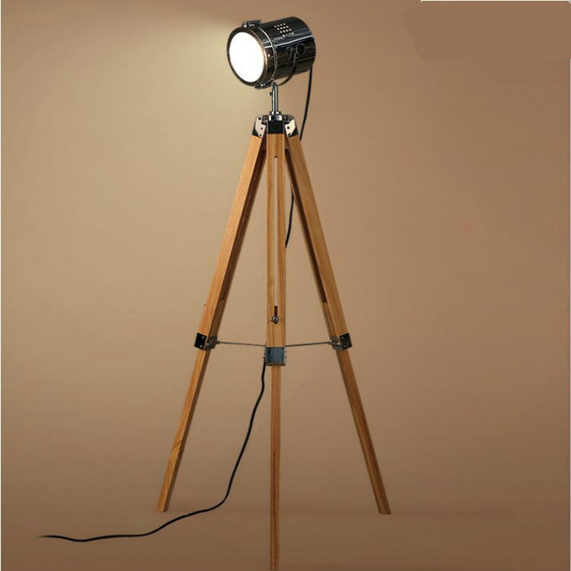 américain rétro vintage loft bois métal trépied led e27 projecteur