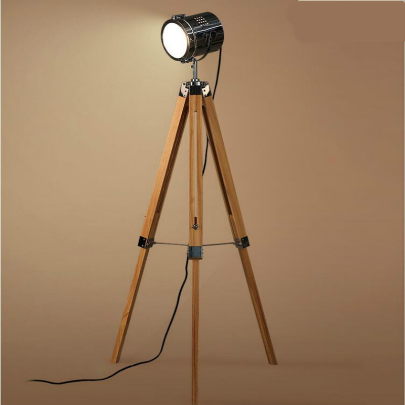 American Retro Винтаж Лофт деревянная из металла штатив светодиодный e27 прожектор торшер для фотографии мастерской Гостиная 140 см 1211