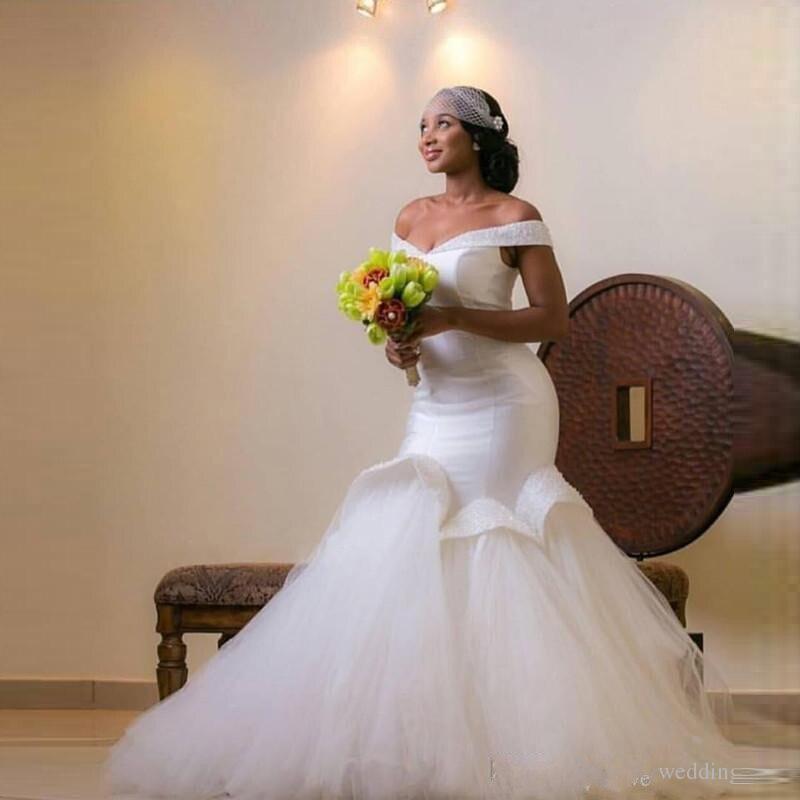 african wedding dress designs mermaid long bridal gowns sleeves ruffles beaded wedding dress plus size vestido de noiva