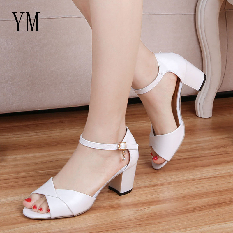 2018 Spring Sexy Fish mouth Hollow Roman Sandals Thick with a Word With Buckle High Heels Female Summer Sexy Ankle Strap Sandals2018 Spring Sexy Fish mouth Hollow Roman Sandals Thick with a Word With Buckle High Heels Female Summer Sexy Ankle Strap Sandals
