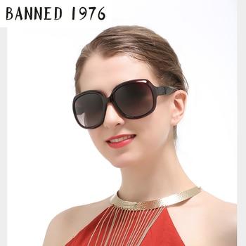 حظرت 1976 العلامة التجارية نظارات الموضة النساء الفاخرة مصمم خمر نظارات شمسية 2017 الإناث برشام ظلال الكبير إطار نمط نظارات
