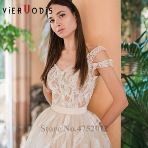 Image 3 - Vestidos De Novia 2019 Yeni Tasarım Şapel Tren A Line düğün elbisesi Zarif Kolsuz Dantel Aplikler Tül gelin kıyafeti