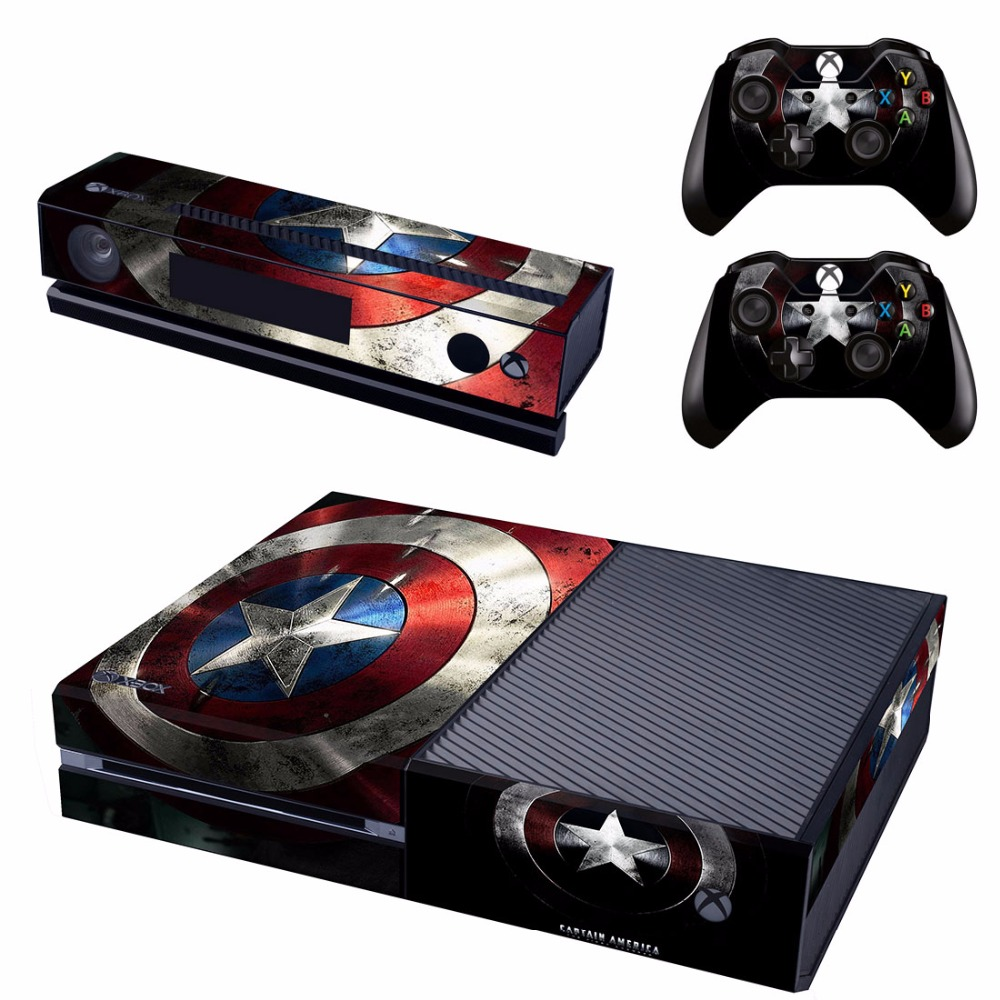 Captain America Vinyl Skin Cover Stickers Decal For Xbox One Console & Kinect & 2 Controller