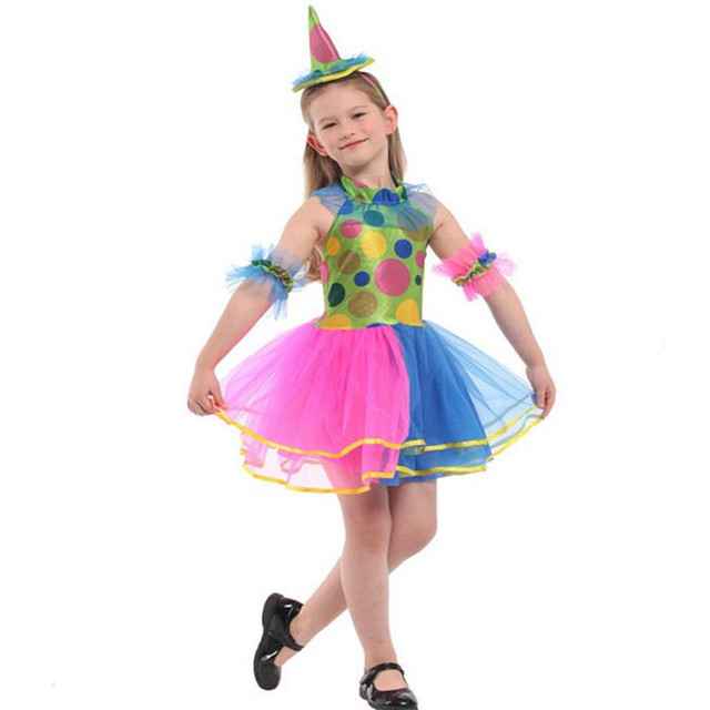 2018 Kids Girls Colorful Clown Cosplay Costume Children Circus Performance Costumes Halloween Party Dress Decor Purim  sc 1 st  AliExpress.com & 2018 Kids Girls Colorful Clown Cosplay Costume Children Circus ...