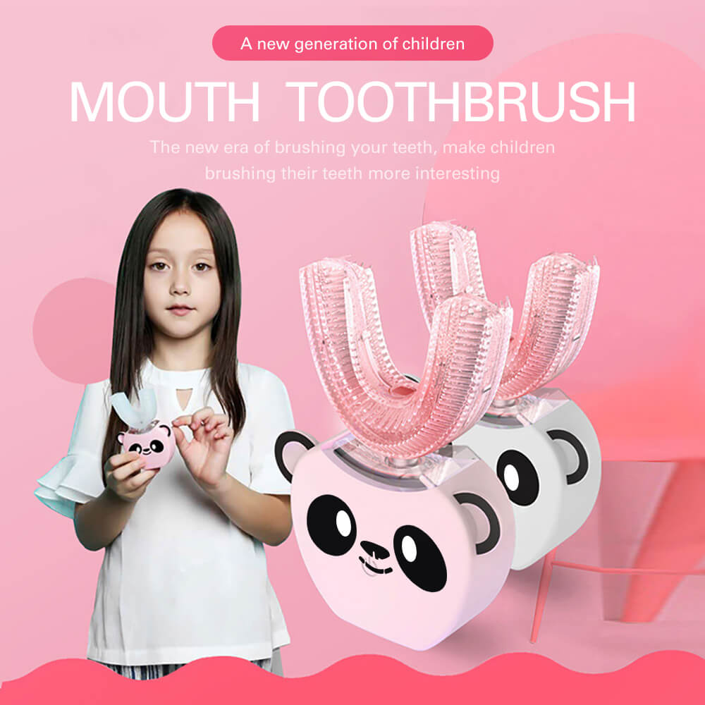 New Smart 360 Automatic Sonic Electric Children Toothbrush Music Cartoon Pattern Tooth Brush U -Shaped Head Mouth Piece For Kids