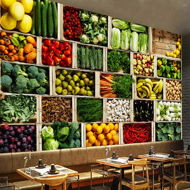Custom 3D Wall Mural Vegetable Fruit Photo Wallpaper Fruit Store Supermarket Background Wall Decor Modern Eco-Friendly Painting