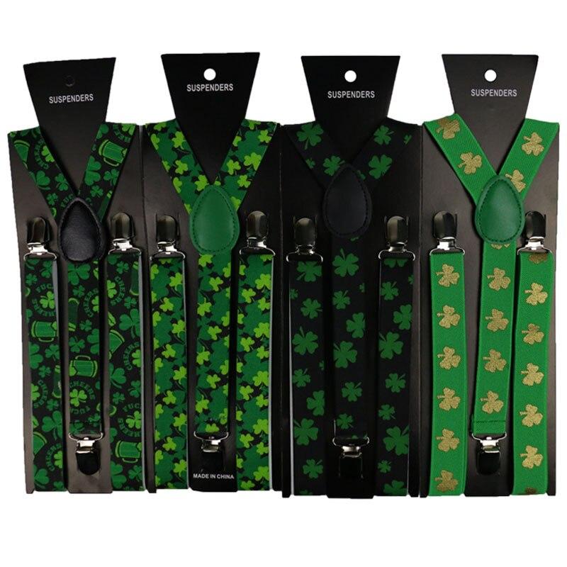 OLOME Vintage Green 2.5cm Wide Clover Suspenders For Women Man Trousers Wedding Suspensorio Pants