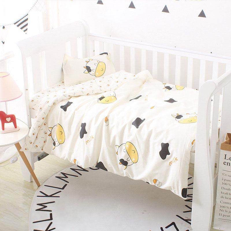 Newborn Baby Bedding Sets 3Pcs Baby Sleeping Sets Infant Crib Set Clouds Pattern Containing Duvet Cover Pillowcase Flat Sheet