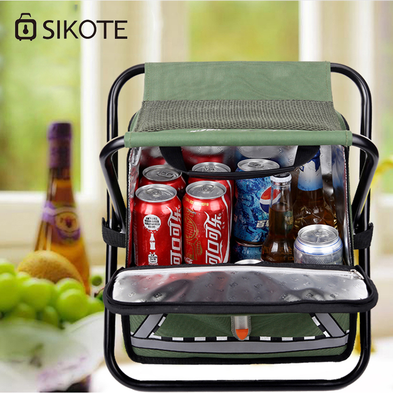 SIKOTE Insulation Fold Cooler Bag Chair Lunch Box Thermo Bag Waterproof Portable Food Picnic Bags Lancheira Termica Marmitas aaa quality thermal insulated 3d print neoprene lunch bag for women kids lunch bags with zipper cooler insulation lunch box