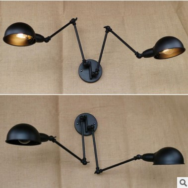 Long Arm Retro Vintage Wall Lamp With 2 Lights For Home In RH Loft Style Industrial Wall Sconce Arandela Apliques Pared iwhd rh style loft industrial vintage wall lamp led gold lampshade edison retro wall lights sconce arandelas apliques pared