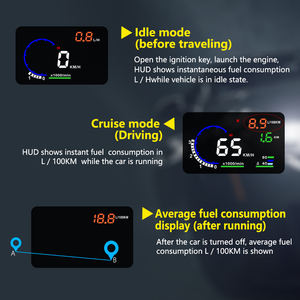 Image 3 - Hot Selling A8 5.5 inch HUD OBD2 Head Up Display For Car Digital Speedometer Windshield Projector Overspeed Alarm