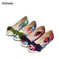 AShwin zomer vrouwen loafers flats canvas schoenen etnische stijl bloem embrodiery oxfords schoenen slip op sandaal vrouw 34-43
