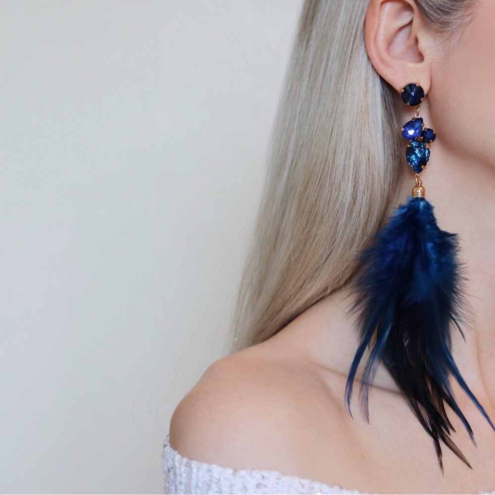 Drop Earrings for Women Retro 4-colors Feather Rhinestone Crystal Earings Fashion Jewelry Gift for Girl ER51452
