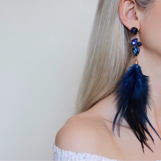 Серьги для Для женщин Ретро 4 цветов перо Украшенные стразами серьги Модные украшения подарок для девочки ER51452
