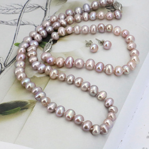 Image 3 - WUBIANLU Purpel Pearl Necklace Sets Fish Clasp 7 8mm Necklace 18 Inch Bracelet 7.5 Inch Earring Women Jewelry Making Design