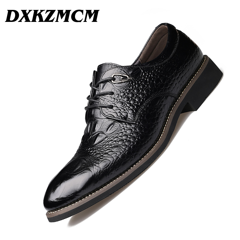 DXKZMCM Handmade Men Dress Shoes, High Quality Genuine Leather Men Oxford, Leather Men Flats Shoes image