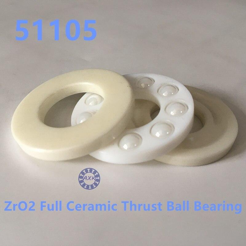 Livraison gratuite 51105 ZrO2 butée à billes en céramique 8105 25x42x11mm pas de roulement magnétique