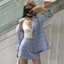 New Spring plaid piccolo rivestimento del vestito delle donne + alta vita era sottile pantaloncini a quadri a due pezzi delle donne di modo vestito