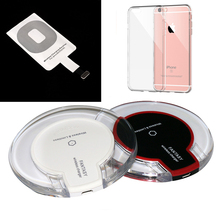 Universal QI Wireless Charger Charging Pad with Receiver Blue Light Crystal for iPhone 5 5S 6 6S 6 Plus + Claar Soft TPU Case