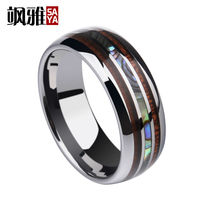 New Arrival 8mm Women Man Silver Tones Tungsten Carbide Rings Inlay Wood and Shells Dome Band Comfort Fit Wedding Band 7 12