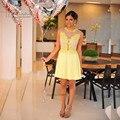 Vestidos de Coctel Yellow Lace Elegant Cocktail Dresses 2016 Above Knee Sleeveless Short Party Dress Vestido de Festa Curto