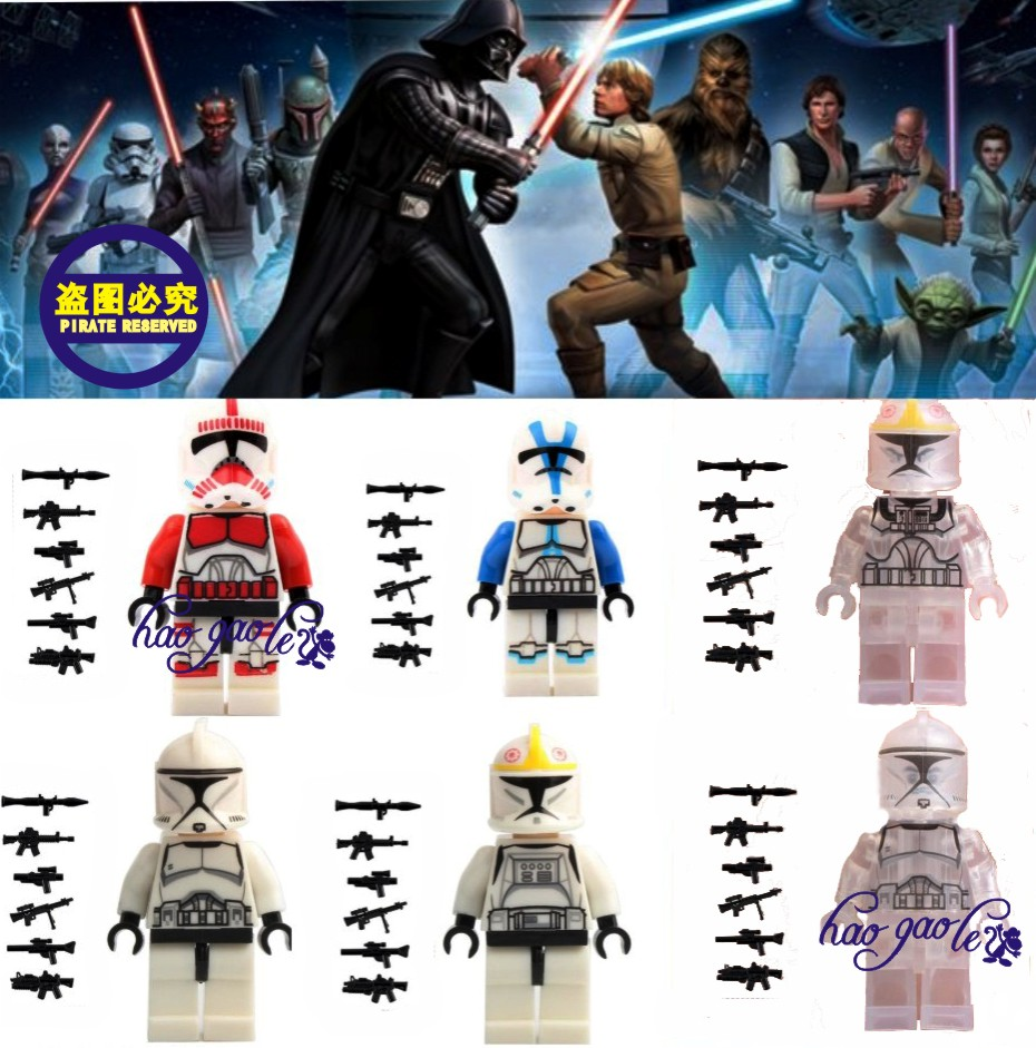 6pcs/lot Star Wars7 Clone Trooper Commander Fox Captain Rex Pilot wolf pack clone with 6pcs weapons Building Blocks Bricks Toy кровать витра 54 11