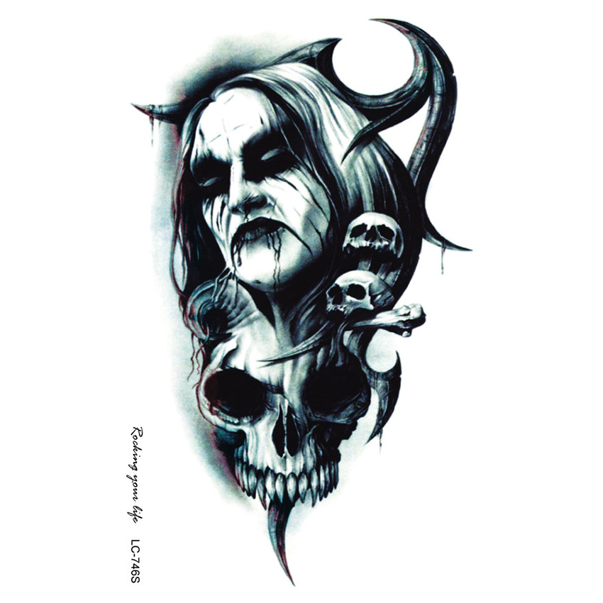 20Pcs Large Tattoo Sticker Halloween Horror Horrible Bloodsucker Vampire Designs Temporary Terrorist Stickers Tatuagem In Tattoos From