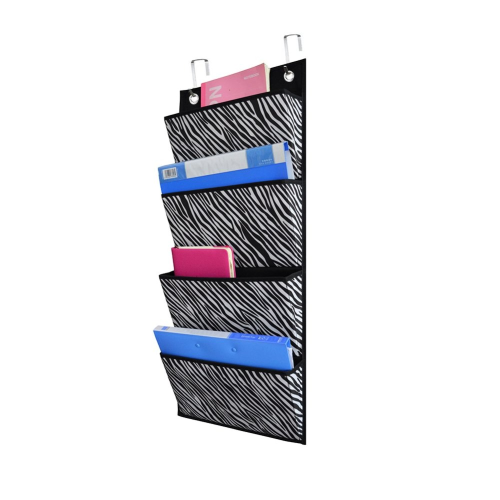 Over The Door/Wall Mount Hanging Organizer 4 Pocket, Cascading Magazine File Organizer Storage Pockets, Polyester Office Class