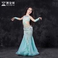 Новые модные высококачественные кружева живот Танцы длинная юбка Комплект из 4 предметов для маленьких девочек/детей, костюм Производитель