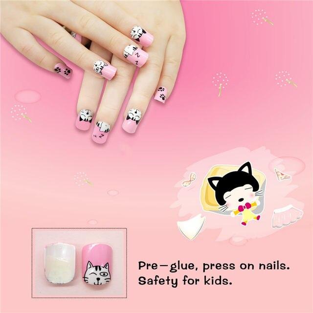 Online Shop 24pcs Press On Kids False Nail Tips Cartoon Cat Full