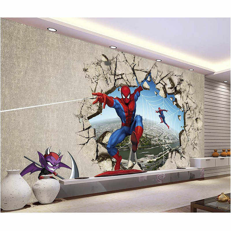 3D Spider-Man Customize Photo Wallpaper For Walls Mural Home Decor Non-woven Wall paper For Living Bedding Room Good Quality 390