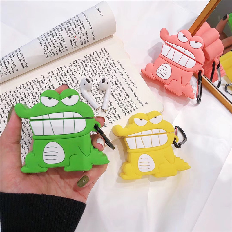 3D Cartoon Shinchan Crocodile Biscuits Earphone Case Cute Silicone Cover For Airpods 1/2 Cover Earpod Case Accessories With Hook