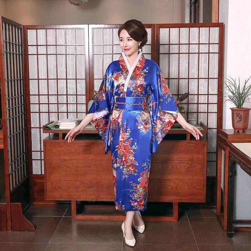 Blue Fashion National Trends Women Sexy Kimono Yukata With Obi Novelty Evening Dress Japanese Cosplay Costume Floral One Size