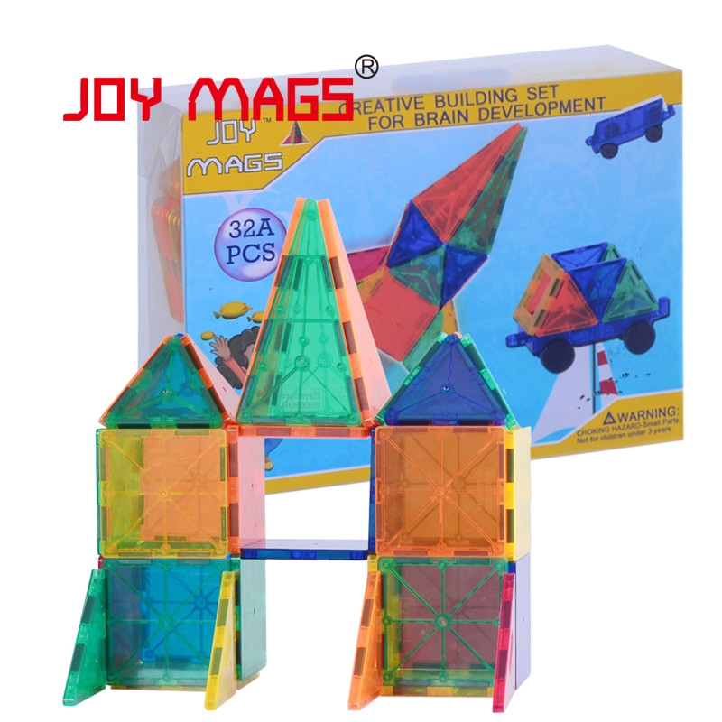 JOY MAGS Toy Bricks 32 pcs 3D Magnetic Tiles Block Designer Construction Enlighten Educational Building Bricks DIY decorative table lamp vintage wood plastic rustic style brief modern lampshade living room bedroom 110 220v desk light 1936