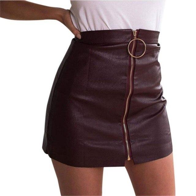 Aliexpress.com : Buy Women Zipper High Waist Leather Skirt Punk ...
