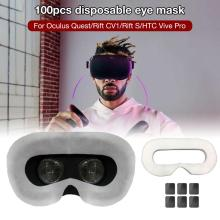 100Pcs Disposable VR Eye Mask Breathable Pure Cotton Sweat Absorbent Face for Oculus Quest/Rift CV1/Rift S/HTC Vive Pro
