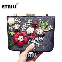 ETAILL Embroidered Flower Women Gold Clutch Bags Ladies Evening Bag for Party Day Clutches Small Golden Shoulder Crossbody Bag цена 2017