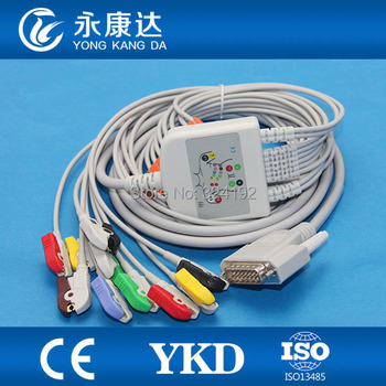 Free shipping FOR Nihon Kohden 9130 EKG cable,NK DB15M Nihon Kohden 10-lead EKG cable IEC ,NK DB15M >DIN3.0, 4.7K resistance фото
