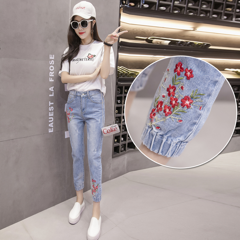 2017 Spring Summer New Women Flower Embroidery Harem Jeans Fashion Slim Female Casual Slim Light Blue Denim Pants L588 flower embroidery jeans female blue casual pants capris 2017 spring summer pockets straight jeans women bottom a46