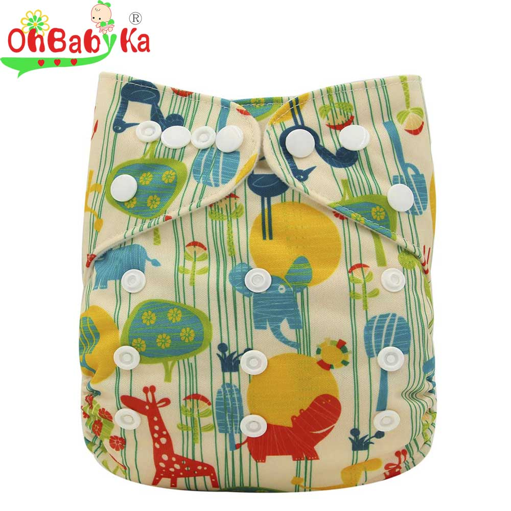 Ohbabyka Reusable Waterproof PUL Baby Cloth Diaper Nappy Covers One Size Fits All Baby Washable Cloth Diaper Pocket Nappies