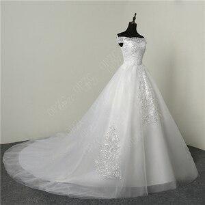 Image 3 - 35% Hot البيع موضة بسيطة الدانتيل تول 2020 فساتين الزفاف 100 سنتيمتر قطار طويل قارب الرقبة أنيقة حجم كبير Vestido De Noiva العروس