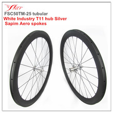Far sports good performance carbon wheelsets 50mm deep x 25mm for sprinting, 700c rims with White Industry T11 hub, 1390g