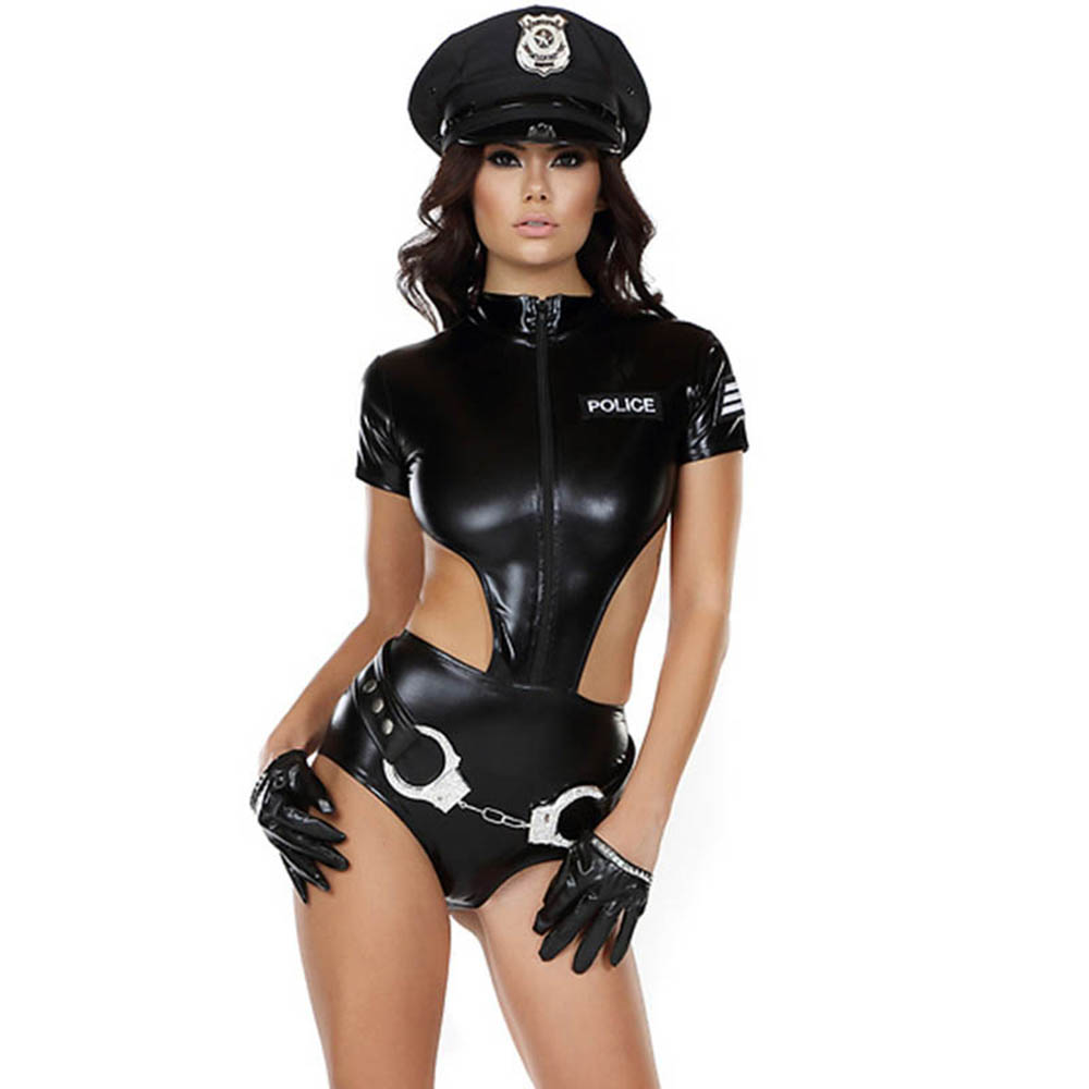 Sexy Faux Leather Cosplay Police Costume Short Sleeve Cutout Backless Bodysuit Halloween Cop Uniform Role Play Police Costume